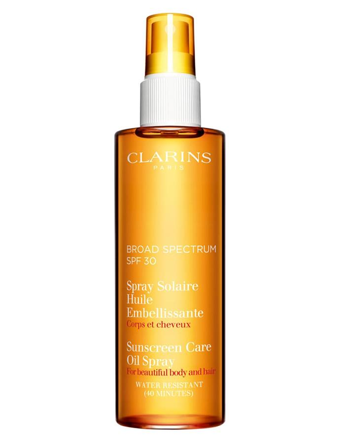 "SPF 30 Sunscreen Care Oil Spray by Clarins, $55.80 at [Nordstrom](https://shop.nordstrom.com/s/clarins-sunscreen-care-oil-spray-spf-30-for-skin-hair/3693609|target=""_blank""