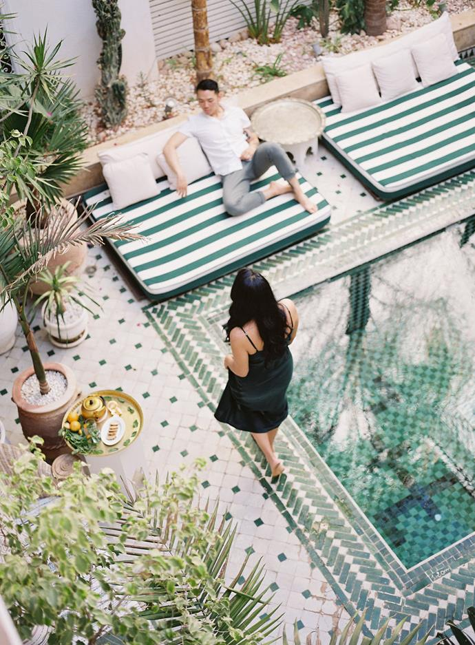 """**Where did you get married? How did you choose the location?**<br><br>  We started our stay at a small riad in Marrakesh called [Riad Yasmine](https://www.riad-yasmine.com/ target=""""_blank"""" rel=""""nofollow""""). Our friends and family met there for the first two days to wind down and get into vacation mode.<br><br>  For the day of the ceremony, we travelled an hour outside of Marrakesh, to a stone desert camp called Scarabeo Camp. Our amazing photographer Kerstin, from [Lilli Kad Photography](https://lillikad.com/ target=""""_blank"""" rel=""""nofollow""""), found both locations!"""