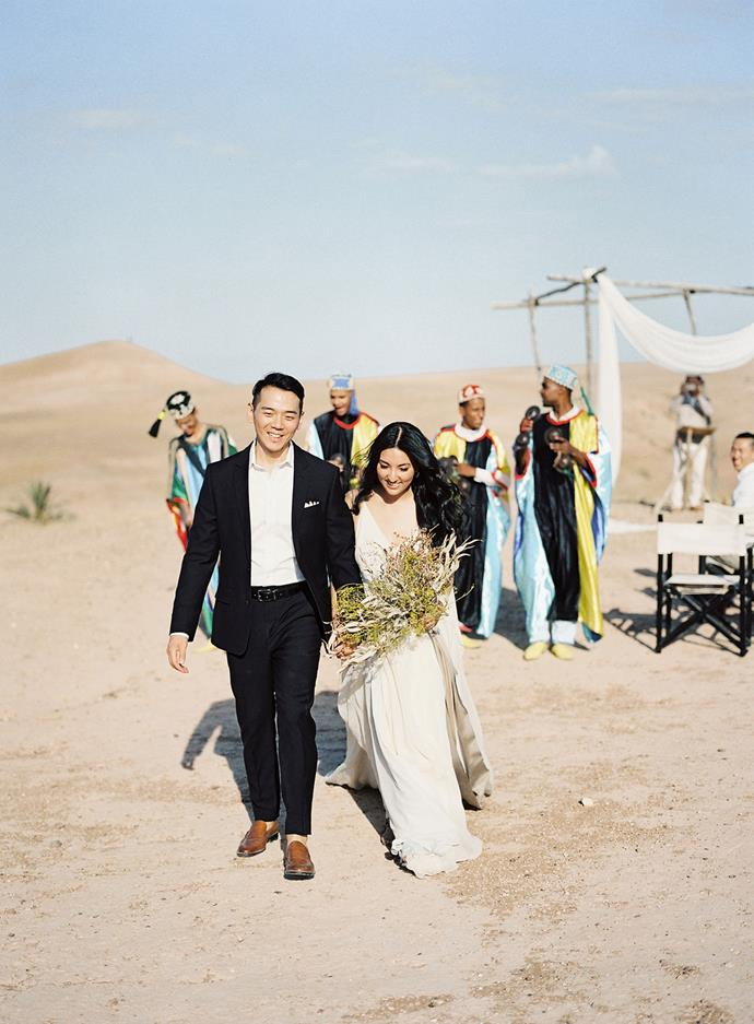 **What did your husband wear?**<br><br>  My husband wore a tux from Black Tux for the ceremony in the desert, and changed into a white linen shirt and slacks after the ceremony.