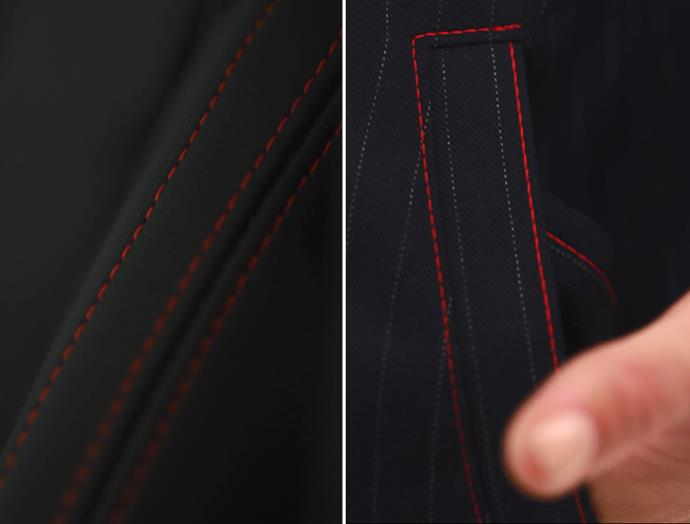 Emma Mulholland incorporated the Hyundai Veloster's red stitching within her jacket design.