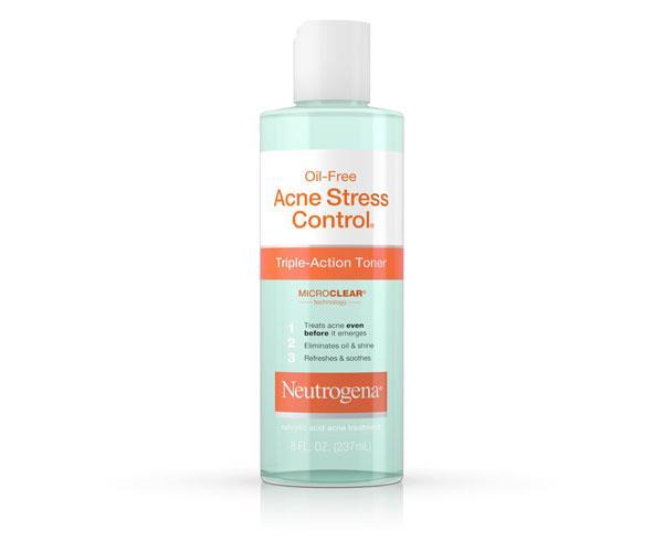 "Oil-Free Acne Stress Control Tripe Action Toner, $8.49, [Neutrogena](https://www.neutrogena.com/skin/skin-acne/skin-acne-salicylic-acid/oil-free-acne-stress-control-triple-action-toner/6805345.html?cgid=skin-acne-salicylic-acid#start=1 target=""_blank"" rel=""nofollow"")."