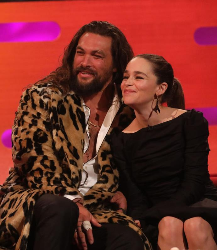 Momoa and Clarke on *The Graham Norton Show* in October 2019.
