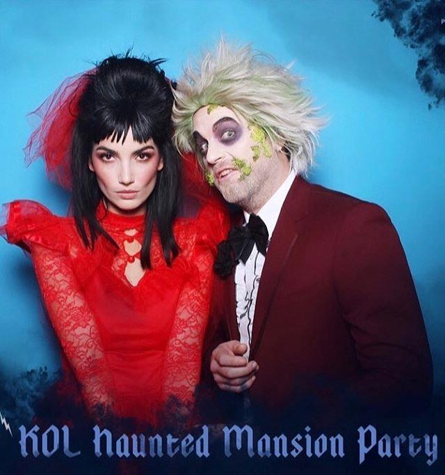 "Lily Aldridge and her husband, Caleb Followill, as Lydia and Beetlejuice <br><br> *Image: Instagram [@lilyaldridge](https://www.instagram.com/p/B4FbWV-nWP5/|target=""_blank""