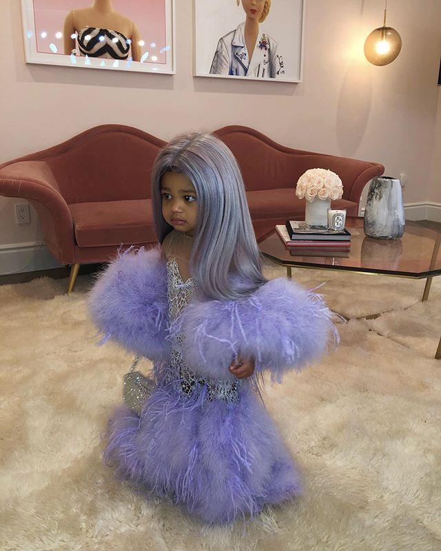 "Stormi Webster channelling the Versace dress her mother, Kylie Jenner, wore to the 2019 Met Gala <br><br> *Image: Instagram [@kyliejenner](https://www.instagram.com/p/B4JHtIfHqQF/|target=""_blank""