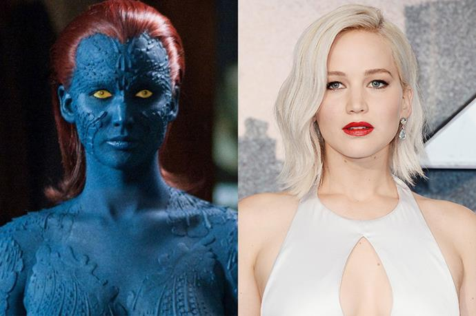 """It used to take eight, which is lovely. Now it only takes three."" For her role as Mystique in the *X-Men* series, Jennifer Lawrence had to undergo hours of painting and prosthetics everyday to transform."