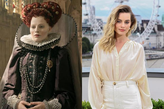 From fake scars to a very large red wig, Margot Robbie underwent quite the transformation to play Queen Elizabeth I in *Mary, Queen of Scots.*