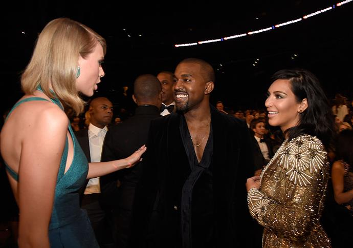 Taylor Swift, Kanye West and Kim Kardashian in 2015.