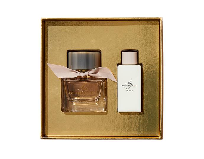 "Blending vibrant lemon and pomegranate top notes with a base of jasmine and rose petal, this delicate fragrance is inspired by a London garden and will add instant sophistication to any outfit.  <br><br> **My Burberry Blush 50ml Gift Set by Burberry, $160 at [Priceline](https://www.priceline.com.au/burberry-my-burberry-blush-edp-50ml-2-piece-set|target=""_blank""