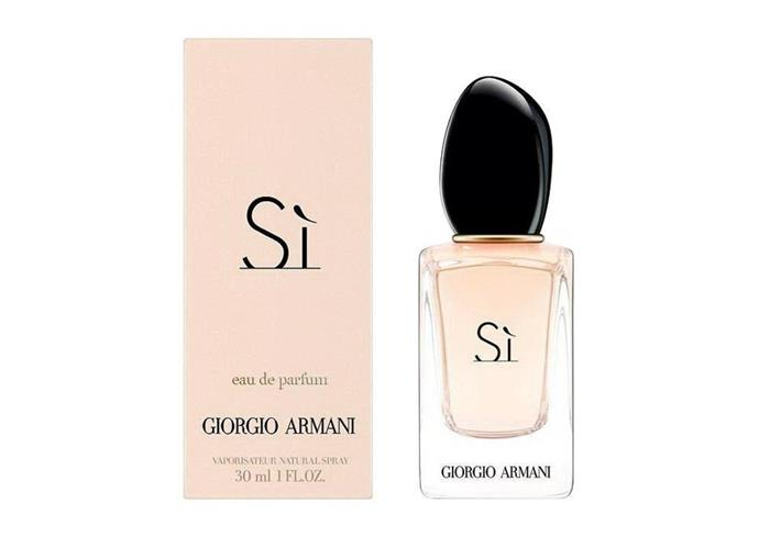 "This elegant scent combines notes of blackcurrant nectar, modern chypre and blond wood musk. Chic, timeless and deeply unique. <br><br> **Si EDP 30ml by Giorgio Armani, $85 at [Priceline](https://www.priceline.com.au/giorgio-armani-si-edp-30-ml|target=""_blank""
