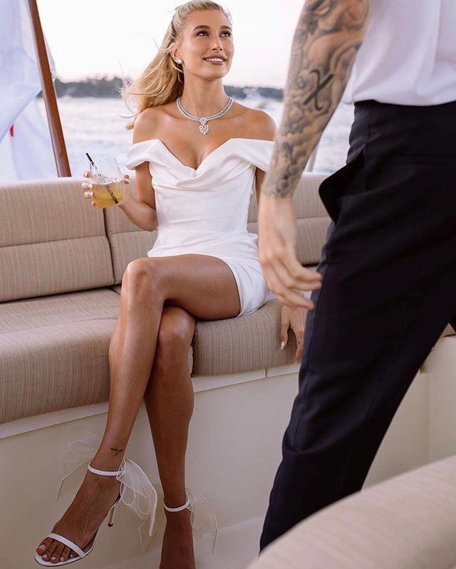 Hailey Bieber (at her pre-wedding party).