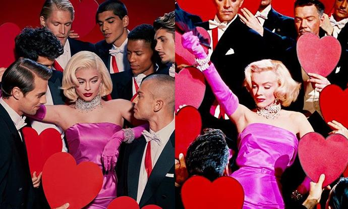 Kylie Jenner as Marilyn Monroe in *Gentlemen Prefer Blondes* (1953) for Halloween 2019.