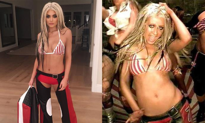 "Kylie Jenner as Christina Aguilera in the music video for ""Dirrty"" (2002) for Halloween 2016."