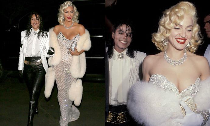 Kim Kardashian West and Kourtney Kardashian as Madonna and Michael Jackson for Halloween 2017.