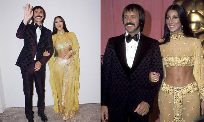 Kim Kardashian West and Jonathan Cheban as 1970s Cher and Sonny Bono for Halloween 2017.