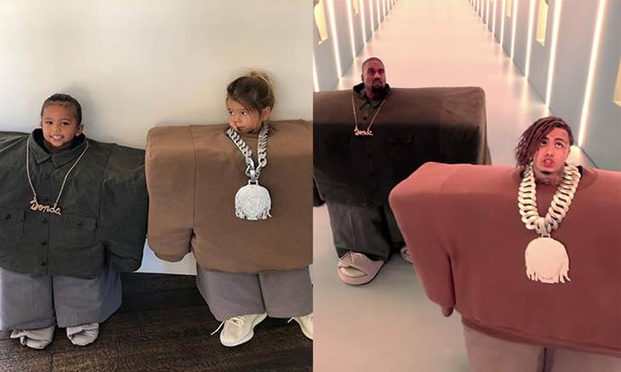 "Saint West and Reign Disick as Kanye West and Lil Pump in the music video for ""I Love It"" for Halloween 2018."