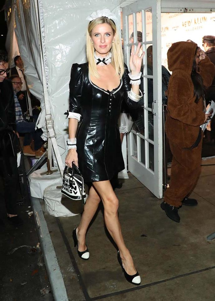 Nicky Hilton as a French maid.