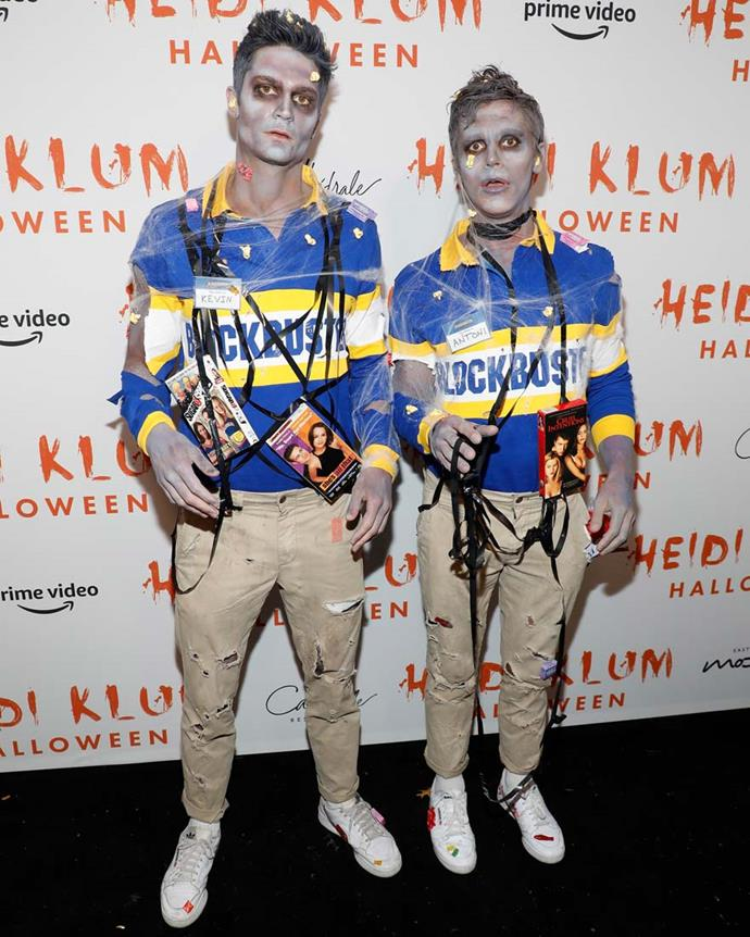 Kevin Harrington and Antoni Porowski as Blockbuster zombies.