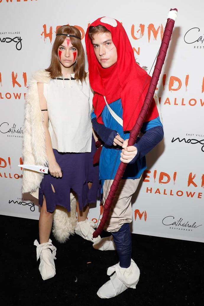 Barbara Palvin and Dylan Sprouse as Ashitaka and San from *Princess Mononoke*.