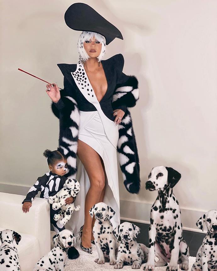Khloe Kardashian as Cruella de Vil.