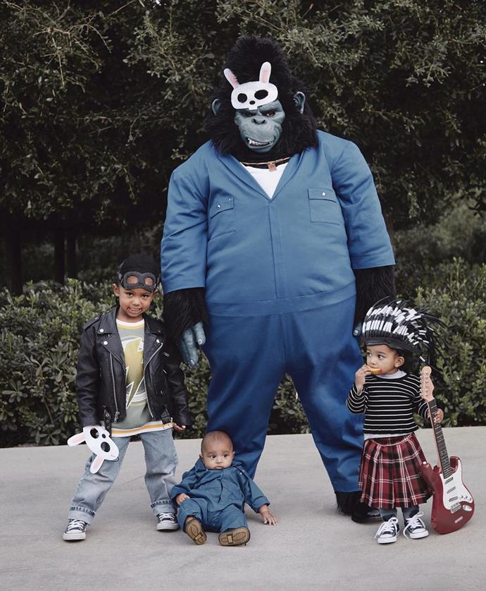 Kanye, Saint, Chicago and Psalm West as characters from the movie *Sing*.