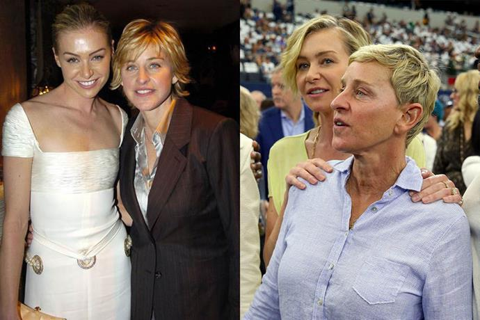 **Ellen Degeneres and Portia de Rossi**<br><br>  The couple began dating in 2004, and were married four years later—Portia's legal name is Portia Lee James DeGeneres. The two have said they don't plan to have children.