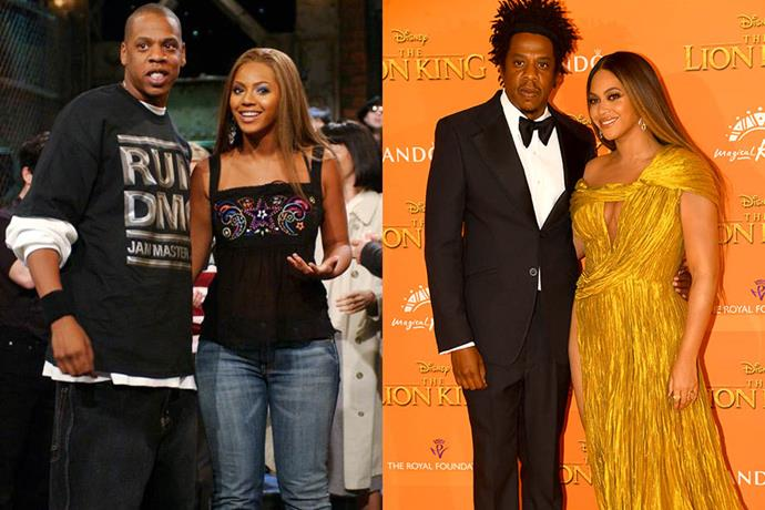 "**Beyoncé Knowles-Carter and Jay Z (real name Shawn Carter)**<br><br>   Beyonce and Jay Z are thought to have started dating after recording ''03 Bonnie & Clyde"" in 2003. They married in April of 2008 and now have three children together, Blue Ivy, seven, and twins Rumi and Sir, two."