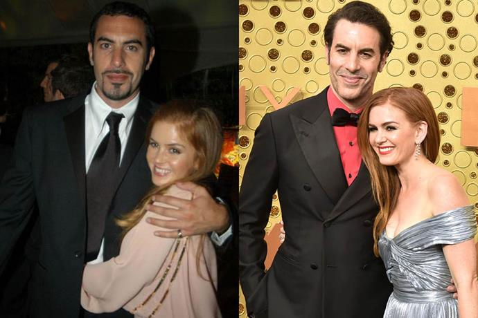 **Isla Fisher and Sacha Baron Cohen**<br><br>  Fisher and Baron Cohen met in Sydney in 2002 and were engaged just two years later, with Fisher converting to Judaism in order to marry Baron Cohen in 2010. The couple has three children: two daughters and a son.