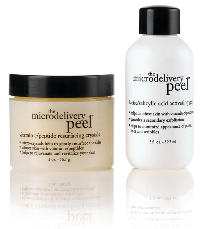 "**Microdelivery Peel Kit by Philosophy, $99 from [Adore Beauty](https://www.adorebeauty.com.au/philosophy/philosophy-microdelivery-in-home-vitmain-c-peptide-peel-kit.html|target=""_blank"")**<br><br>  Created to deliver a complete skin makeover, this power-packed two-step peel not only draws on salicylic acid's effective exfoliation properties, but also offers a health dose of vitamin C and peptide resurfacing crystals for an ultra-refreshed finish."