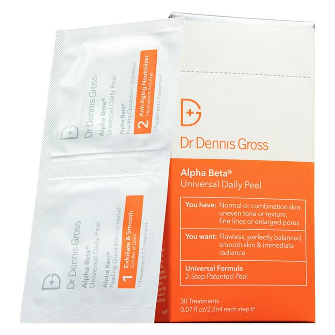 """**Alpha Beta Universal Daily Peel by Dr Dennis Gross, $26 to $229 from [MECCA](https://www.mecca.com.au/dr-dennis-gross/alpha-beta-universal-daily-peel/V-017011.html#q=salicylic%2Bacid%2Bpeel&sz=36&start=1
