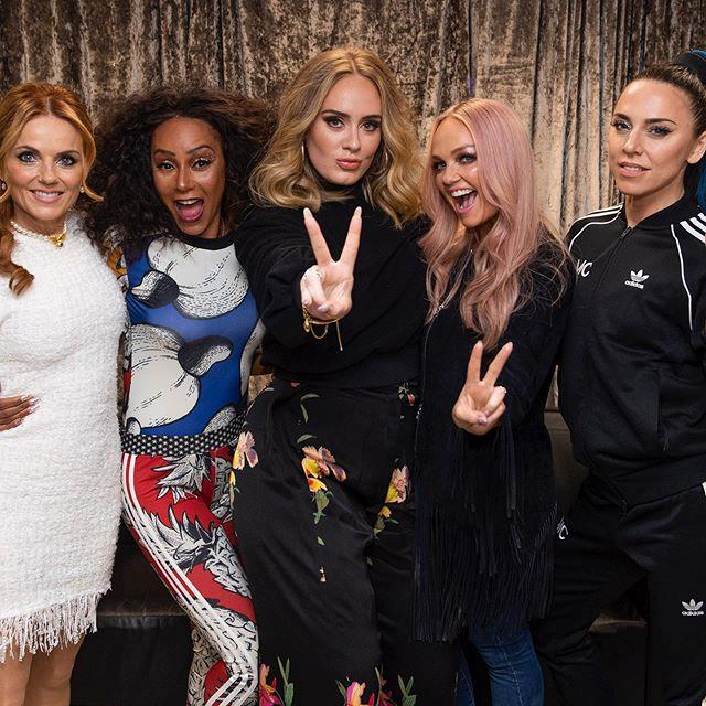 "**Adele meeting the *Spice Girls*** <br><br> *Spice Girls* fans don't get much more passionate than Adele (remember when she told James Corden that Geri Halliwell leaving the band was her first true taste of heartbreak?). <br><br> The British singer met the entire band backstage at the 'Spice World' concert in June 2019 (bar [Victoria Beckham](https://www.harpersbazaar.com.au/celebrity/victoria-beckham-nicole-kidman-height-19233|target=""_blank""), who didn't participate in the tour). The group shared a photo with Adele on their official Instagram account, and wrote: ""Thank you for coming to celebrate with us last night @adele we love you!!!"" <br><br> *Image: Instagram [@spicegirls](https://www.instagram.com/p/ByxilPNJK3M/