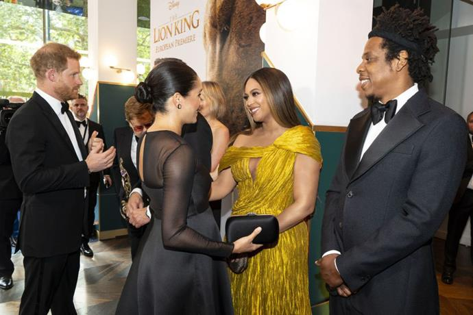 "**Beyoncé meeting Meghan Markle, the Duchess of Sussex** <br><br> Considering Beyoncé is one of the world's most legendary performers, it's pretty major to see Queen Bey starstruck herself. Nevertheless, the singer appeared pretty wowed when she met Meghan Markle, the Duchess of Sussex, at the London premiere of *The Lion King* in July 2019. <br><br> Their meeting came five months after Beyoncé shared an [Instagram](https://www.instagram.com/p/BuHvVDPgVdF/|target=""_blank""
