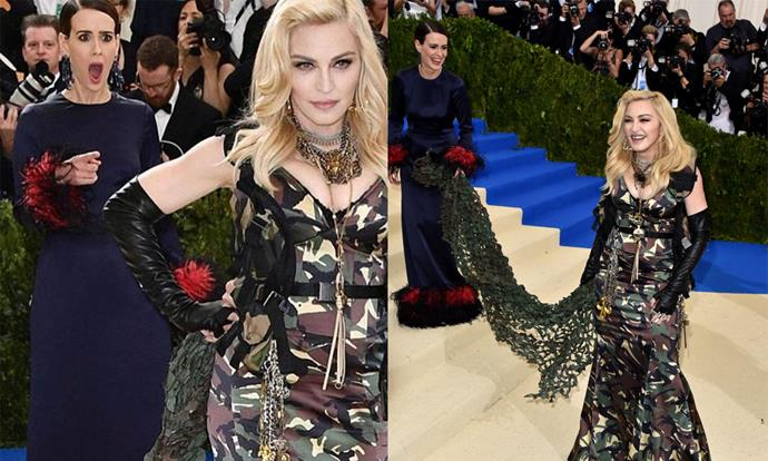 "**Sarah Paulson meeting Madonna** <br><br> Sarah Paulson coincidentally met her idol, Madonna, on the red carpet at the 2017 Met Gala, and even ended up carrying the star's war-themed Moschino cape. Unsurprisingly, Paulson's shocked expression became an Internet meme, causing Madonna herself to repost the photo on Instagram and write: ""Love you Sarah!"" <br><br> *Images: Getty/Instagram [@madonna](https://www.instagram.com/p/BTk1M3Eg_ae/