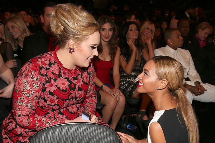 "**Adele meeting Beyoncé** <br><br> As much as she's a fan of the Spice Girls, Adele is one of many celebrities who've recounted their majorly starstruck experiences meeting Beyoncé. <br><br> The star told her story of meeting Queen Bey in hilariously relatable fashion, saying: ""I was about to meet Beyoncé and I had a full-on anxiety attack. Then she popped in looking gorgeous, and said, 'You're amazing! When I listen to you I feel like I'm listening to God.' The encounter later resulted in Adele crying on a balcony, because wouldn't we all? <br><br> *Image: Getty*"
