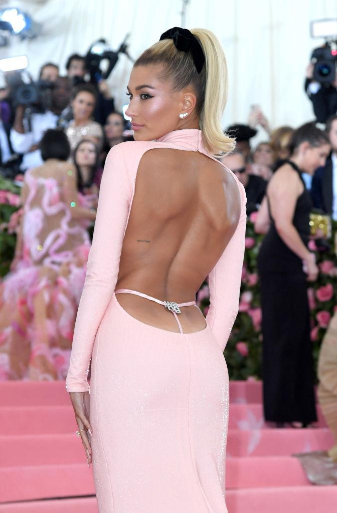 **Hailey Bieber**<br><br>  Tom Ford brought the exposed G-string to the forefront (quite literally) in the '90s, and Hailey Bieber brought it to the Met Gala in 2019.