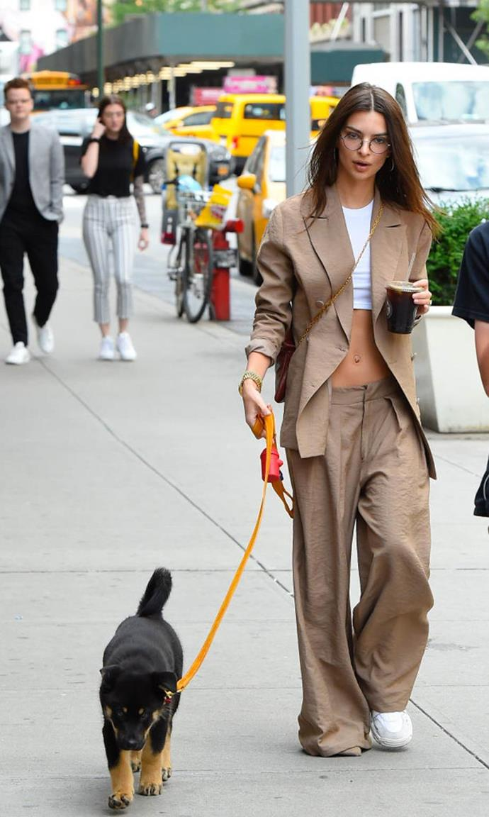 "**Emily Ratajkowski**<br><br>  Oversized suiting and crop tops were both '90s-style staples, and Emily Ratajkowski managed to combine both of them in June 2019 to create a [ridiculously chic dog-walking look](https://www.elle.com.au/fashion/celebrities-walking-dogs-21209|target=""_blank"")."