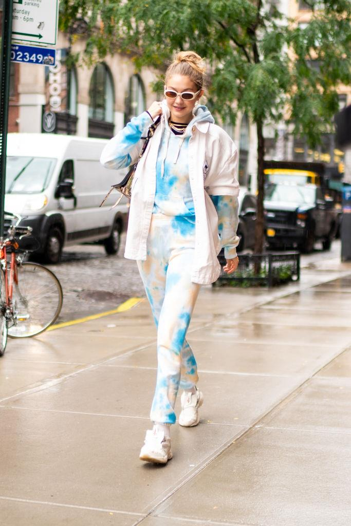 **Gigi Hadid**<br><br>  Not to be outdone by her younger sister, Gigi Hadid was also seen wearing a very '90s ensemble on October 9, in the form of head-to-toe tie-dye sweats.