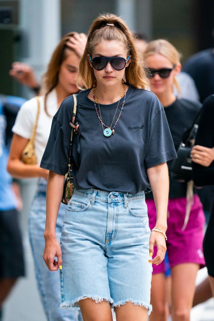 "**Gigi Hadid**<br><br>  In all honesty, we really could have made an article dedicated to the Hadids alone. The pair are almost entirely responsible for the '90s renaissance—including the return of its infamous ['dad' shorts](https://www.elle.com.au/fashion/dad-shorts-trend-21058|target=""_blank"")—which Gigi was snapped wearing in August 2019."