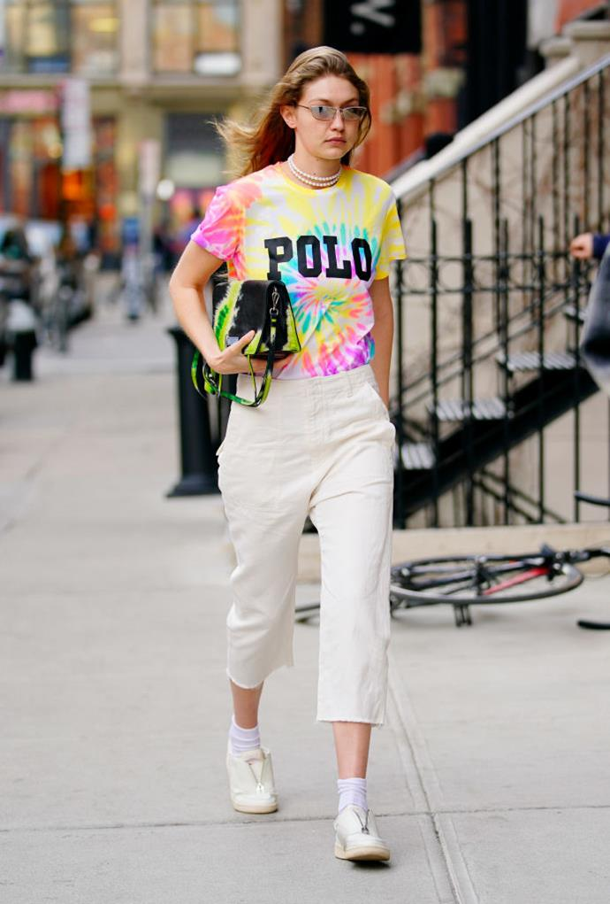 **Gigi Hadid**<br><br>  A repeat offender if we ever saw one, Gigi Hadid first stepped out in the colourful '90s tie-dye trend back in March 2019.