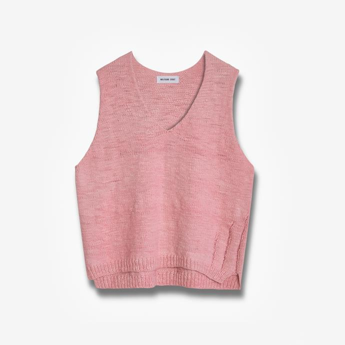 """Handknit layering tank by Wolfgang Scout, $650 at [Wolfgang Scout](https://www.wolfgangscout.com/knits/layeringtank-s3lfw