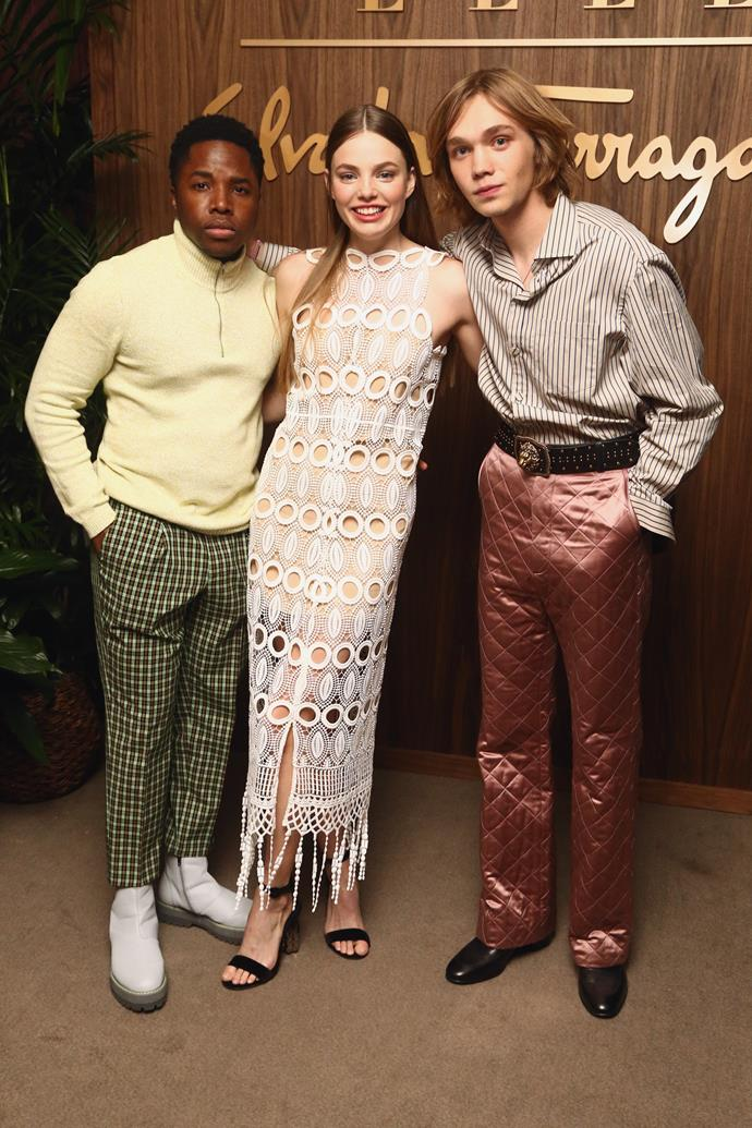 Froseth with her *Looking For Alaska* co-stars, Denny Love (left) and Charlie Plummer (right).