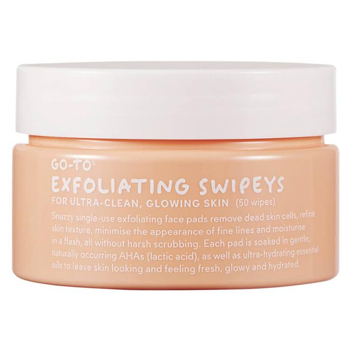 "One of Go-To's most beloved products, Swipeys' blend of lactic acid and oils hydrates your skin while cleansing it. Win-win.<br><br> Exfoliating Swipeys by Go-To, $46 at [MECCA](https://www.mecca.com.au/go-to/exfoliating-swipeys/I-038683.html|target=""_blank""