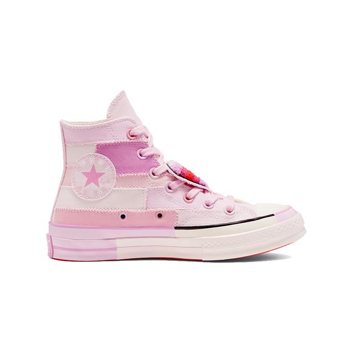 "Millie Bobby Brown pink patchwork high tops, $90 by [Converse](https://www.converse.com/shop/p/converse-x-millie-bobby-brown-chuck-70-unisex-hightopshoe/167298C.html|target=""_blank""