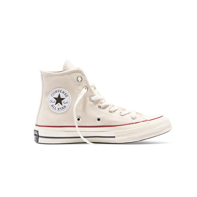 "Classic white high tops, $120 by [Converse](https://www.converse.com.au/chuck-taylor-all-star-70-high-top-parchment-parchment-garnet-egret-162053|target=""_blank""