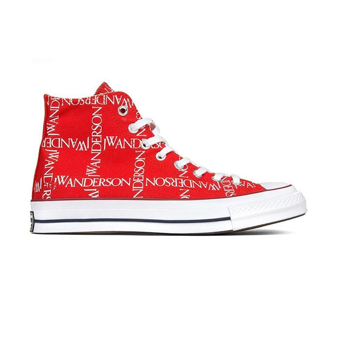 "Red high tops, $190 by [J.W. Anderson](https://www.jwanderson.com/gb/shopping/x-converse-chuck-taylor-sneakers-14009896|target=""_blank""
