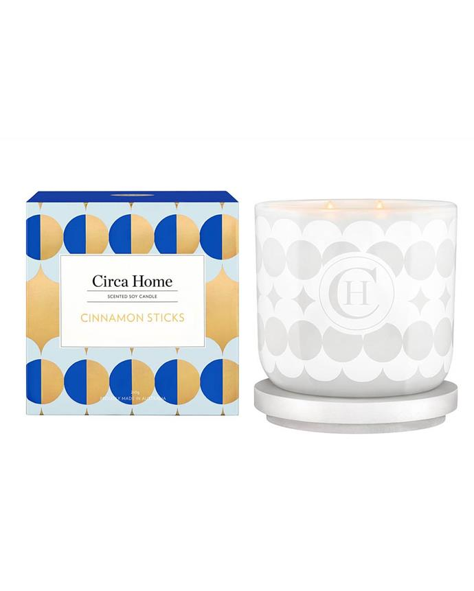 "**Cinnamon Sticks Candle by Circa Home, $34.95 from [David Jones](https://www.davidjones.com/brand/circa-home/23008851/Cinnamon-Sticks-260g-Candle.html|target=""_blank""