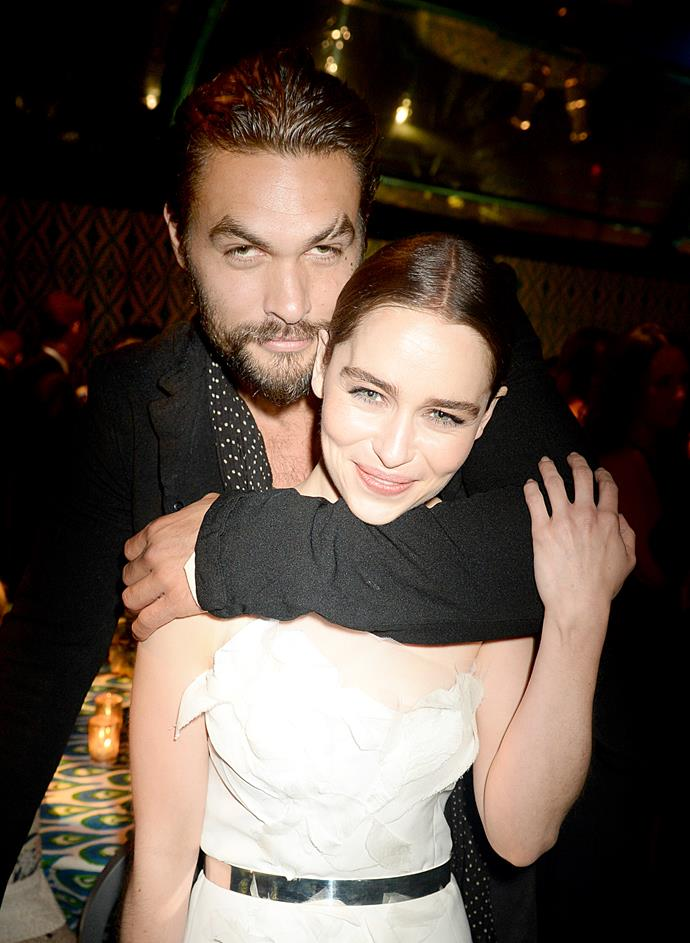 Emilia Clarke and Jason Momoa.