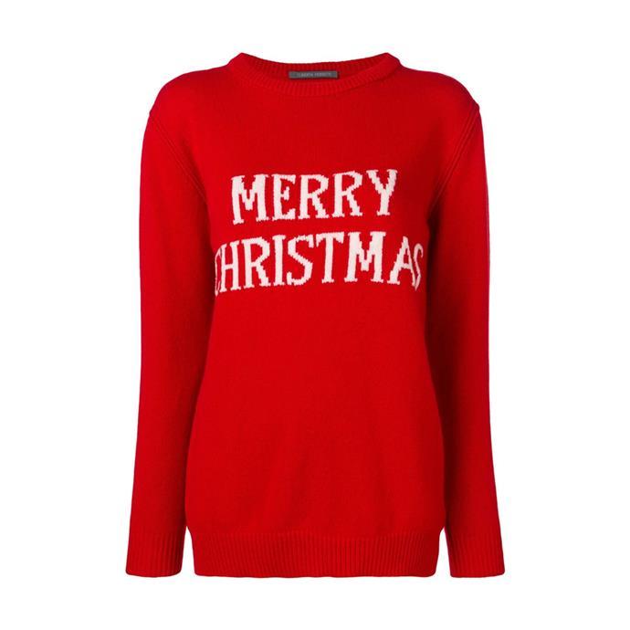 "Sweater by Alberta Ferretti, $519 at [Farfetch](https://www.farfetch.com/au/shopping/women/alberta-ferretti-merry-christmas-knitted-jumper-item-13450586.aspx|target=""_blank""|rel=""nofollow"")."