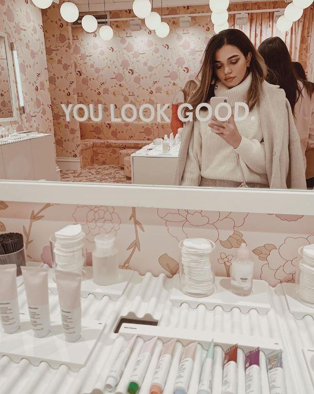 Inside Glossier's London pop-up store.
