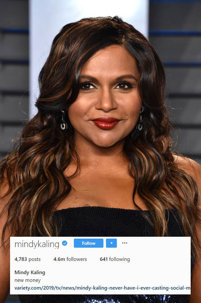 "**Mindy Kaling**<br><br>  ""New Money"". Two words. So simple. Just brilliant. Love Mindy."