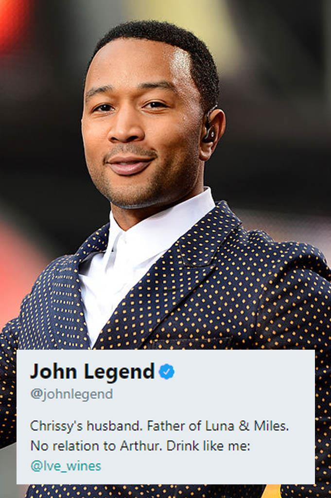 **John Legend**<br><br>  Not to be outdone by his brilliant wife, John Legend's Twitter bio is equal parts self-deprecating (calling himself Chrissy's husband), sentimental (naming his children), comedic (points for the Arthur mention) and business (link out to his wine label). Excellent work.